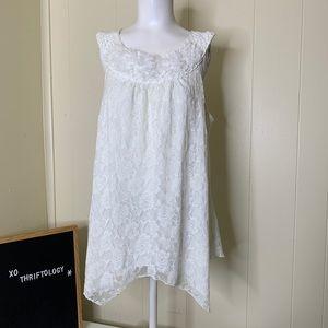 DRESS BARN White Sleeveless Sheer Floral Top